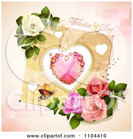 Clipart Valentines Day Background With A Dewy Heart Butterfly And Roses Over Tiles And Stripes - Royalty Free Vector Illustration by merlinul