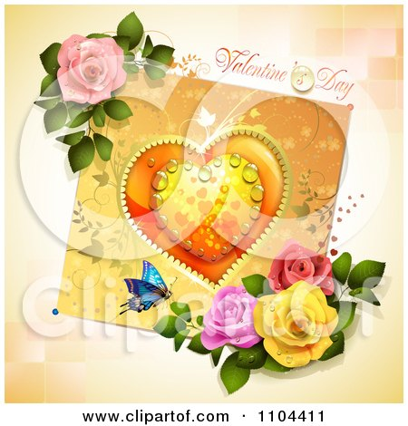 Clipart Valentines Day Background With A Dewy Heart Butterfly And Roses Over Tiles - Royalty Free Vector Illustration by merlinul