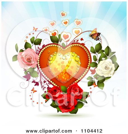 Clipart Dewy Heart With Butterflies And Roses Over Rays - Royalty Free Vector Illustration by merlinul