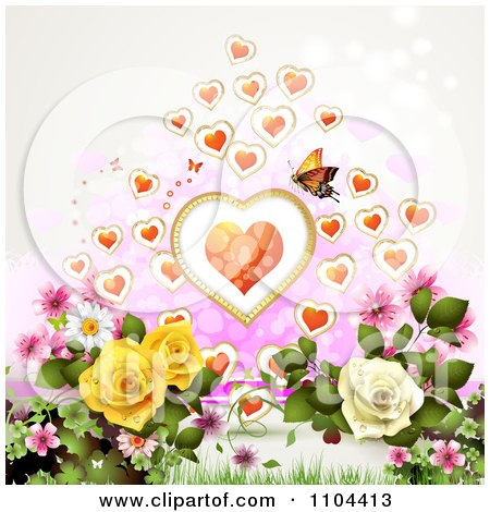 Clipart Butterfly With Hearts Over Roses - Royalty Free Vector Illustration by merlinul