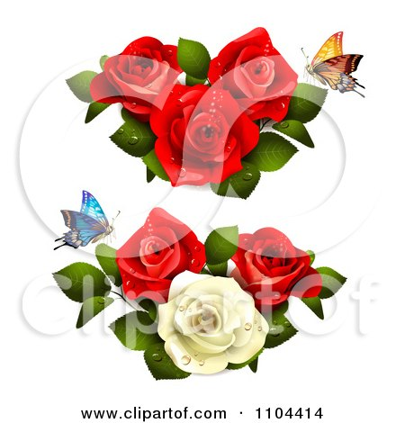 Butterflies With Red And White Roses Posters, Art Prints
