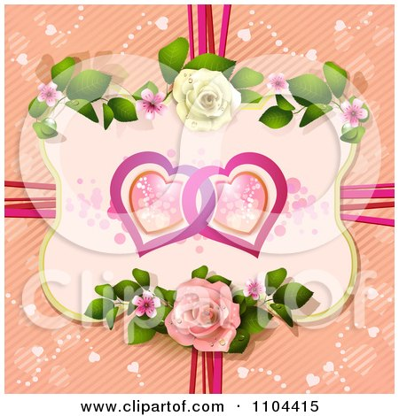 Clipart Entwined Hearts In A Rose Frame Over Diagonal Stripes With Ribbons - Royalty Free Vector Illustration by merlinul
