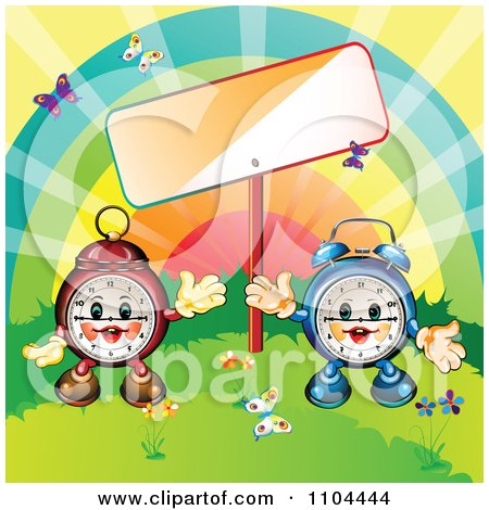 Clipart Happy Aplarm Clocks With A Rainbow Sign And Butterflies - Royalty Free Vector Illustration by merlinul