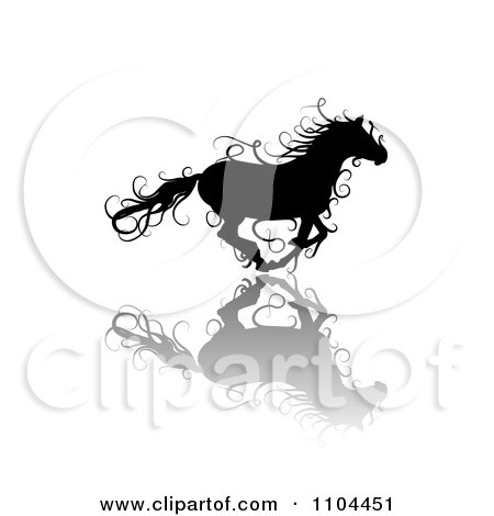 Clipart Black Ornate Swirl Horse Running With A Shadow 3 - Royalty Free Vector Illustration by merlinul