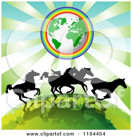Clipart Silhouetted Wild Horses Running Under Earth Encircled In A Rainbow - Royalty Free Vector Illustration by merlinul