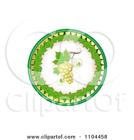 Clipart Circle Of White Grapes And Grene Leaves 1 - Royalty Free Vector Illustration by merlinul