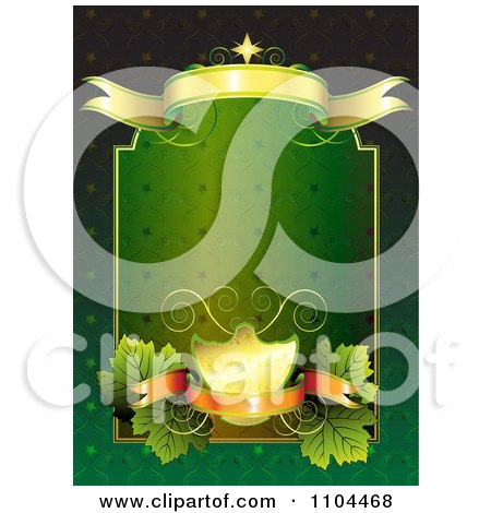 Clipart Green And Gold Frame With Banners And Leaves - Royalty Free Vector Illustration by merlinul