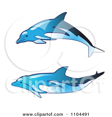 Clipart Blue Dolphins - Royalty Free Vector Illustration by merlinul