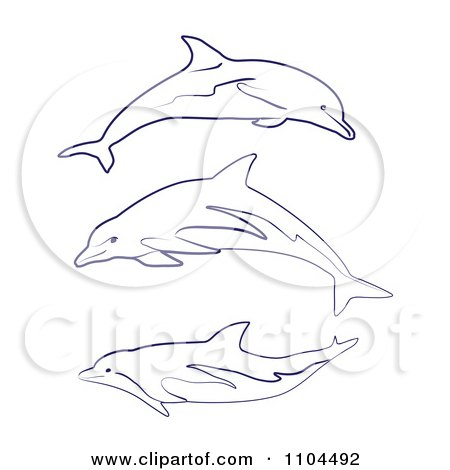 Clipart Outlined Blue Dolphins - Royalty Free Vector Illustration by merlinul