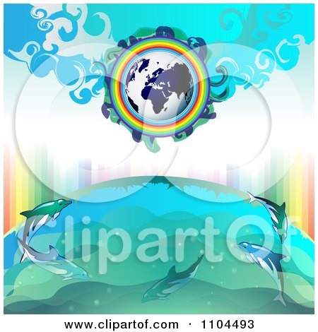 Clipart Globe With A Rainbow And Dolphins 4 - Royalty Free Vector Illustration by merlinul