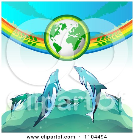 Clipart Green Globe With Branches A Rainbow And Dolphins - Royalty Free Vector Illustration by merlinul