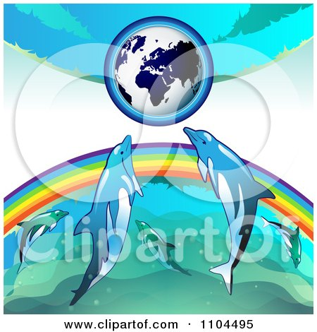 Clipart Globe With A Rainbow And Dolphins 1 - Royalty Free Vector Illustration by merlinul
