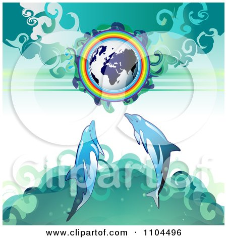 Clipart Globe With A Rainbow And Dolphins 2 - Royalty Free Vector Illustration by merlinul