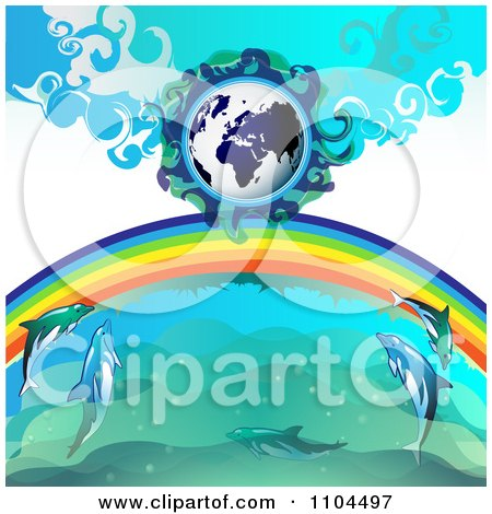 Clipart Globe With A Rainbow And Dolphins 3 - Royalty Free Vector Illustration by merlinul