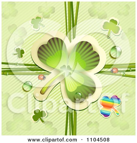 Clipart Shamrock With Ladybugs And Dew Over Diagonal Stripes - Royalty Free Vector Illustration by merlinul