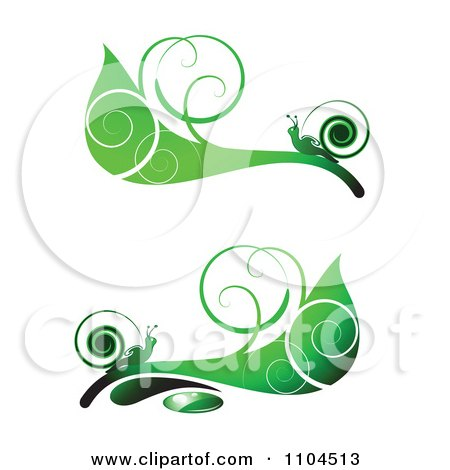 Clipart Ornate Swirl Leaves And Snails Design Elements 4 - Royalty Free Vector Illustration by merlinul