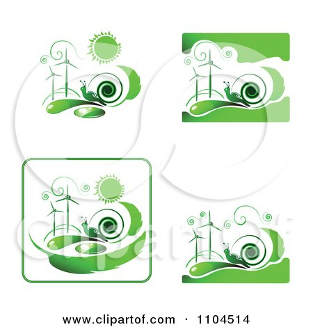 Clipart Green Wind Energy And Snail Icons 1 - Royalty Free Vector Illustration by merlinul