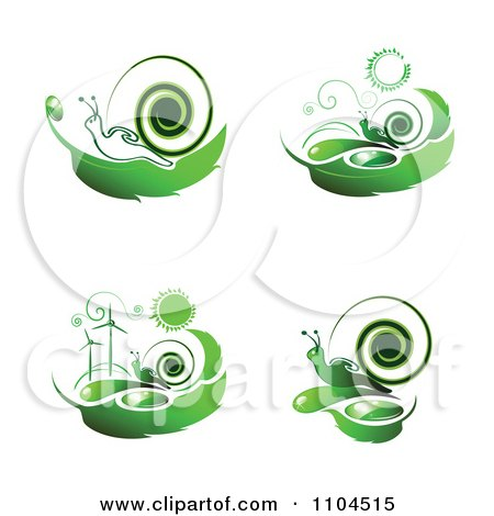 Green Wind Energy And Snail Icons 2 Posters, Art Prints