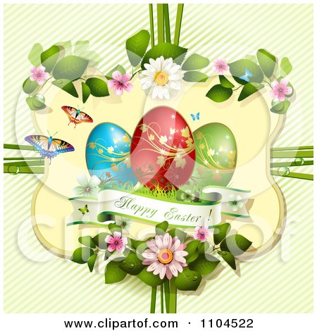 Clipart Happy Easter And Eggs In A Floral Frame Over Diagonal Stripes - Royalty Free Vector Illustration by merlinul