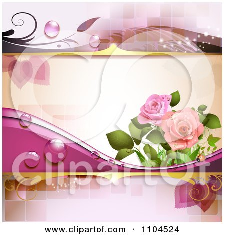Clipart Pink Rose Background With Dew And Tiles - Royalty Free Vector Illustration by merlinul