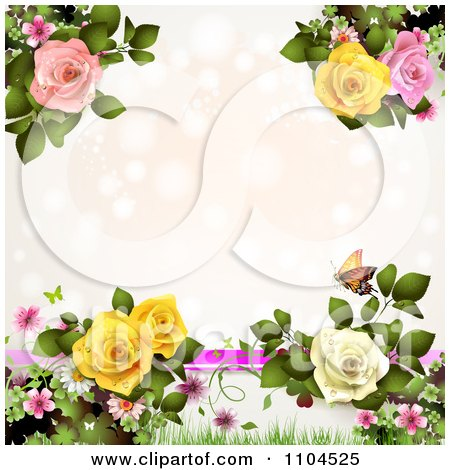 Clipart Pastel Pink Background With Lights Butterflies And Roses With Copyspace - Royalty Free Vector Illustration by merlinul