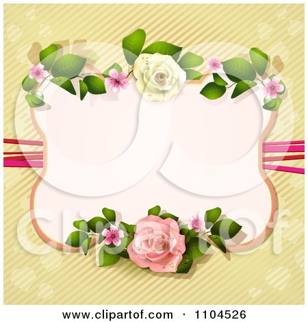 Clipart Pastel Pink Rose Frame Over Diagonal Stripes And Hearts - Royalty Free Vector Illustration by merlinul