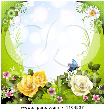 Clipart Frame With Roses Blossoms Daisies And Butterflies On Green - Royalty Free Vector Illustration by merlinul