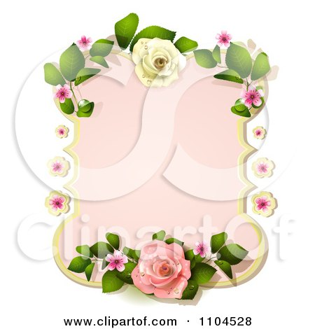 Clipart Pastel Pink Rose Frame - Royalty Free Vector Illustration by merlinul
