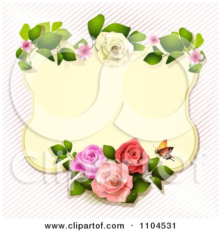 Clipart Rose Frame With A Butterfly Over Diagonal Stripes - Royalty Free Vector Illustration by merlinul