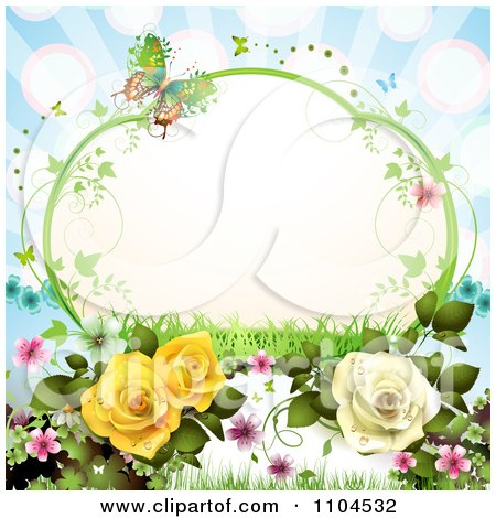 Clipart Vine Frame With Roses Vines Blossoms And Butterflies On Blue With Rays - Royalty Free Vector Illustration by merlinul