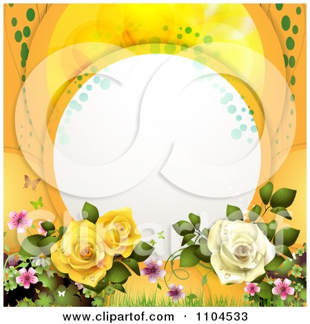 Clipart Frame With Roses Blossoms And Butterflies On Orange - Royalty Free Vector Illustration by merlinul
