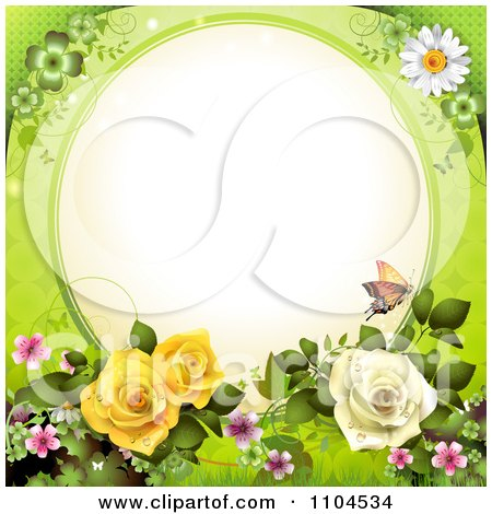 Clipart Frame With Roses Blossoms And Butterflies On Green - Royalty Free Vector Illustration by merlinul