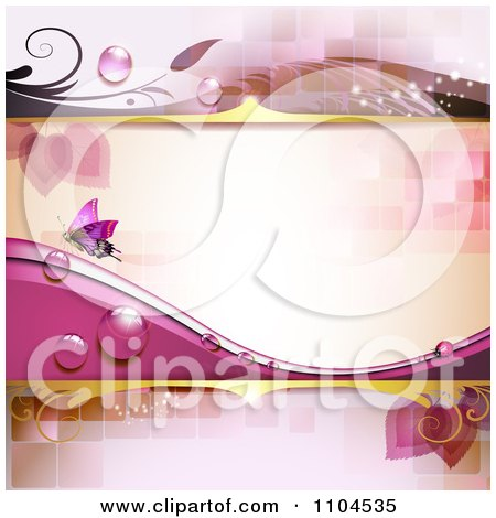 Clipart Pink Background With A Butterfly Dew And Tiles - Royalty Free Vector Illustration by merlinul