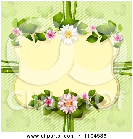 Clipart Daisy Frame Over Diagonal Stripes And Shamrocks Royalty Free Vector Illustration