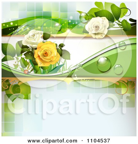 Clipart Rose Background With Dew Drops And Green Tiles - Royalty Free Vector Illustration by merlinul