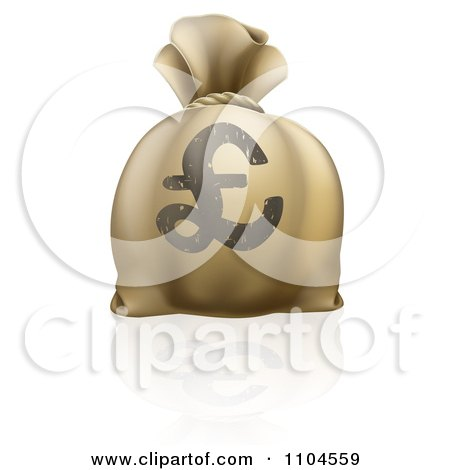 Clipart 3d Lira Pound Sterling Money Sack - Royalty Free Vector Illustration by AtStockIllustration
