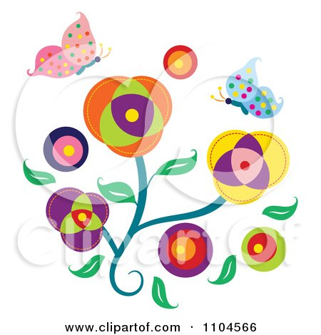 Clipart Flowers With Spotted Butterflies - Royalty Free Vector Illustration by Cherie Reve