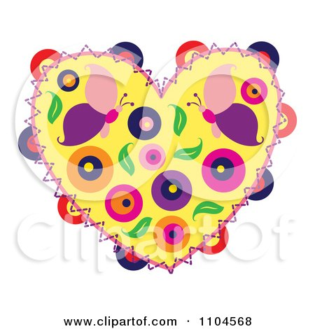 Clipart Heart With Butterflies Circles And Leaves - Royalty Free Vector Illustration by Cherie Reve