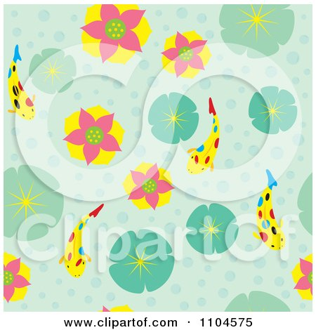 Clipart Seamless Water Lily And Koi Background Pattern - Royalty Free Vector Illustration by Cherie Reve