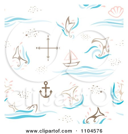 Clipart Seamless Whale Tail Ship And Anchor Background Pattern - Royalty Free Vector Illustration by Cherie Reve