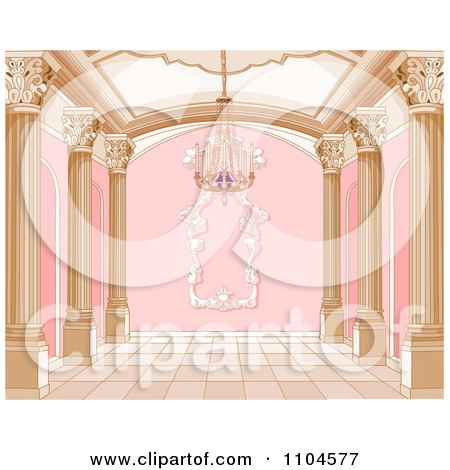 Clipart Ornate Pink And Gold Palace Interior With A Chandelier - Royalty Free Vector Illustration by Pushkin