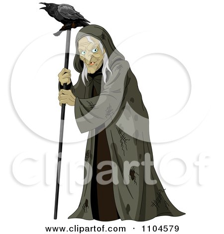 Clipart Evil Old Witch In A Torn Cloak With A Raven On Her Walking Stick - Royalty Free Vector Illustration by Pushkin
