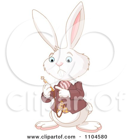 Clipart The Alice In Wonderland White Rabbit Checking His Pocket Watch - Royalty Free Vector Illustration by Pushkin