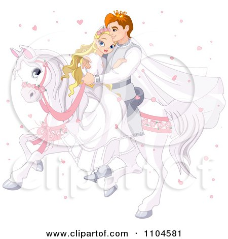 Clipart Fairy Tale Prince And Princess Wedding Couple Riding Together On A White Horse Surrounded By Heart Confetti - Royalty Free Vector Illustration by Pushkin