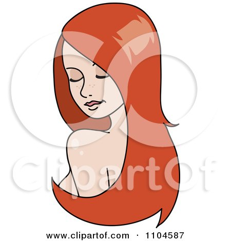 Clipart Red Haired Woman Looking Over Her Shoulder With Long Hair Extensions Or A Wig - Royalty Free Vector Illustration by Rosie Piter