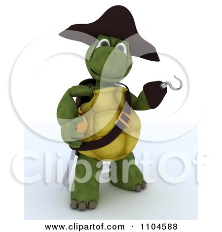 Clipart 3d Presenting Tortoise Pirate With A Peg Leg Hook Hand And Sword - Royalty Free CGI Illustration by KJ Pargeter