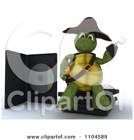 Clipart 3d Movie Or Software Tortoise Pirate Sitting On Illegal Bootleg Packaging - Royalty Free CGI Illustration by KJ Pargeter