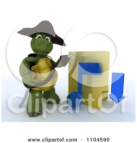 Clipart 3d Illegal Music Download Hook Hand Tortoise Pirate With A Folder - Royalty Free CGI Illustration by KJ Pargeter