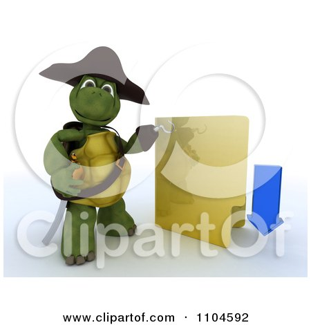 Clipart 3d Illegal Download Hook Hand Tortoise Pirate With A Folder - Royalty Free CGI Illustration by KJ Pargeter