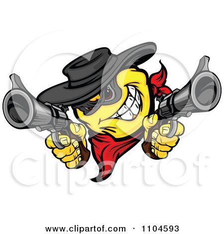 Clipart Yellow Smiley Emoticon Bandit Grinning And Shooting Two Revolvers - Royalty Free Vector Illustration by Chromaco